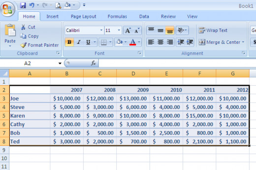Select your data in Excel for the Stacked Chart.