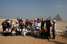 A group of tourists in Egypt