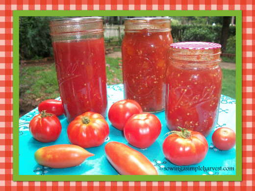 Homegrown tomatoes canned for winter use.