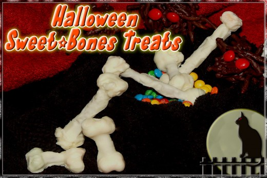 White chocolate covered snacks that look like skeleton bones!