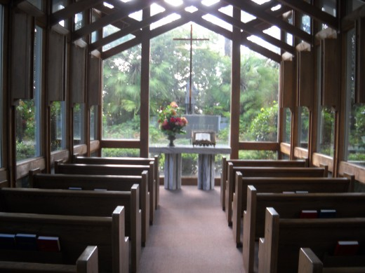 Glass chapel interior