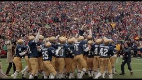 Rudy was a very inspirational and true football related story. Rudy fought hard to play for Notre Dame.