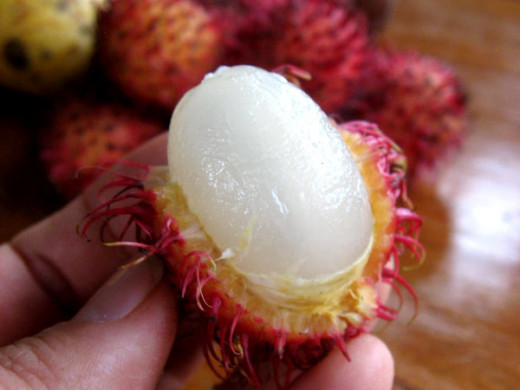 Opened rambutan fruit