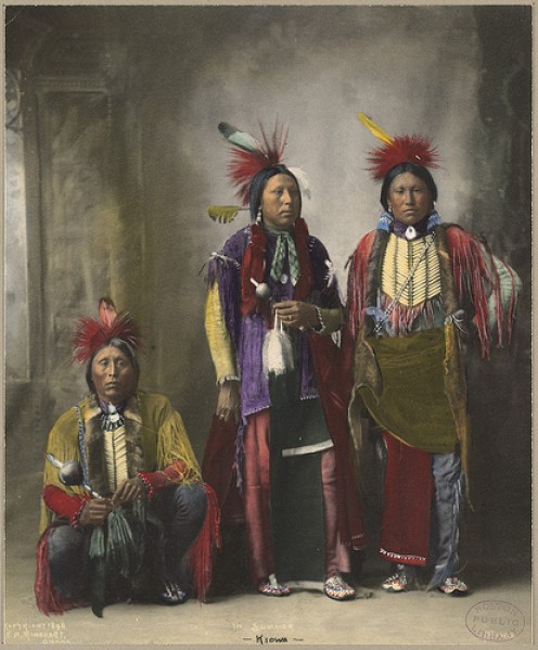 THREE KIOWA MEN - Trans-Mississippi and International Exposition of 1898 in Omaha NE by Frank A. Rinehart, photographer.