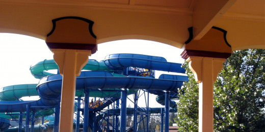 Water slides seen from the train ride, where you will be robbed by bandits.