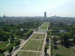 Down to the Champs de Mars from the 1st floor of the Eiffel Tower