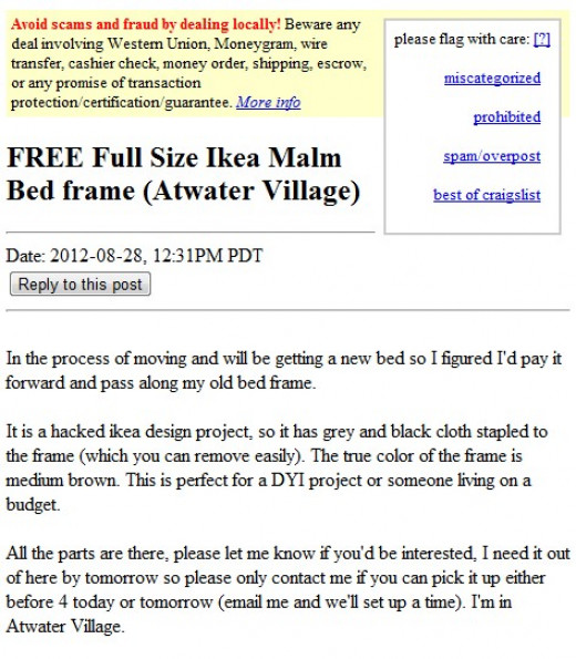 Here is an example of something that I found posted this morning as I am writing this article on 8/28/2012.  I found this on Craigslist Los Angeles.