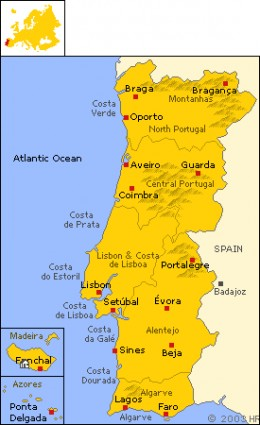 Madeira Island on the map of Portugal