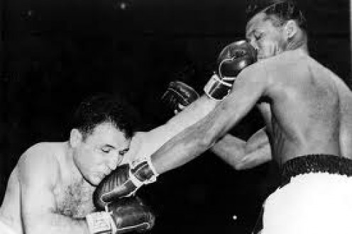 Jake La Motta and Sugar Ray Robinson fought in six wars with Sugar Ray winning five times. La Motta took heavy shots but never fell to the canvas.