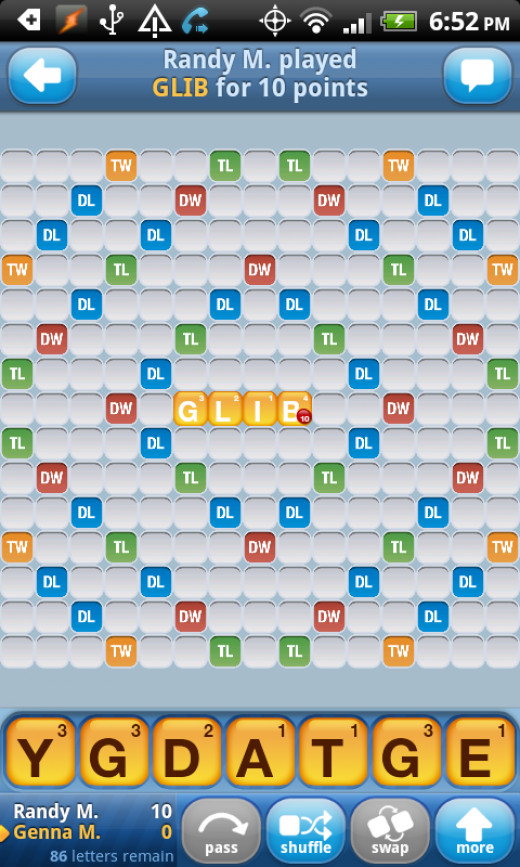 A screen shot of the board layout of a Words With Friends game, which can be played with your Facebook friends.