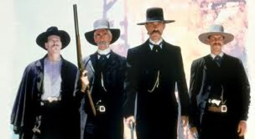 Tombstone was based on true events and it stars Kurt Russell. One of the characters based on a real person is Doc Holliday.