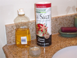 Sea salt and dish soap are great additives to the bathwater. Tealight candles are fun to place around the bath en masse.