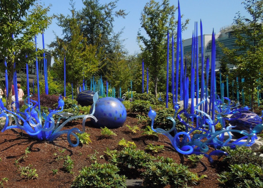Glass Sculptures in Chihuly Garden and Glass in Seattle, WA.