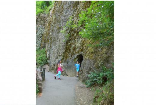 Kids playing on Multnomah Falls Walking Trail