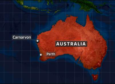 map of western Australia showing where Carnarvon is