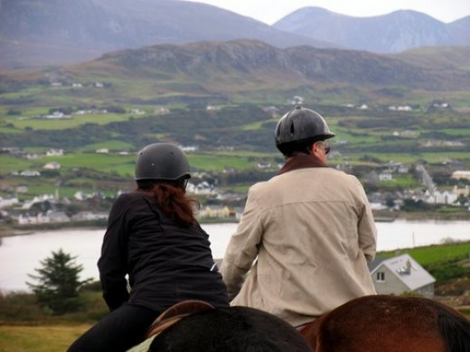 Elaine and Clive (on Annie) look toward Dunfanaghy