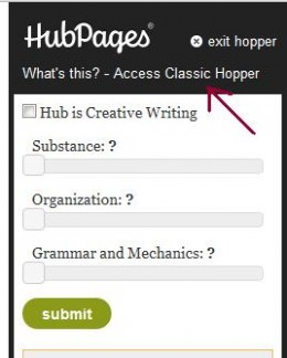Screenshot:  Option to Access Classic Hopper.