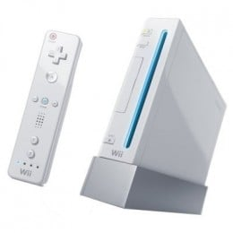 To the left, a Wiimote, and to the right the Wii console system.