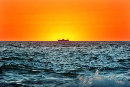 A ship leaving Montevideo, Uruguay
