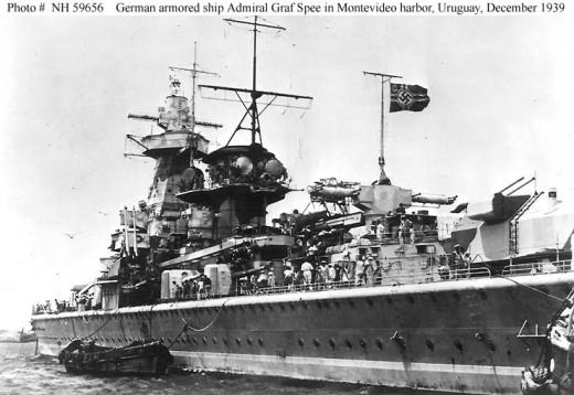 The Graf Spee in Montevideo, after tyhe battle.