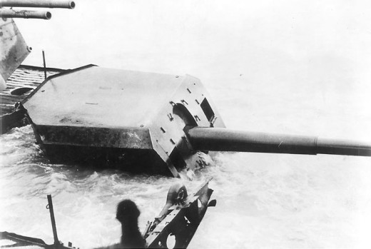 Part of the armament of the Graf Spee, still showing above the water in 1940