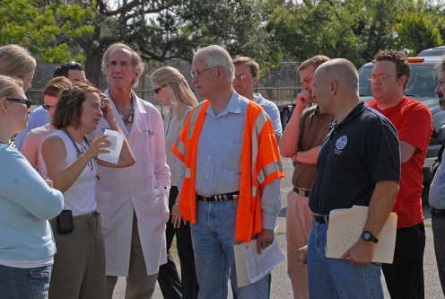 Ms. Dorothy Davison, Nurse Practitioner, briefs Don Powell, Fed Coordinator for Gulf Coast Rebuilding and FEMA FCO Scott Wells at the Methodist Hospital Temporary Site during the hurricane aftermath.