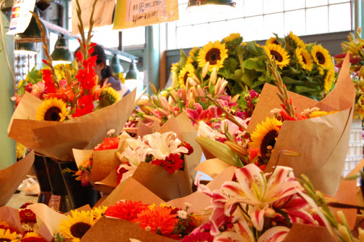 Flowers for sale at Pike Place Market.