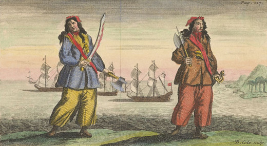 This woodcut of Anne Bonny and Mary Read was engraved by Benjamin Cole (1695-1766) circa 1724. The work is in the public domain in the United States because it was published (or registered with the U.S. Copyright Office) before January 1, 1923.