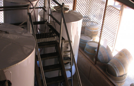 Tanks and oak casks at Lenton Brae Winery, Western Australia.
