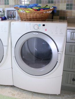 Front loading laundry machines make it easier for kids to help with the laundry.