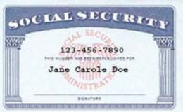 Representation of Social Security Card with fictitious name and numbers