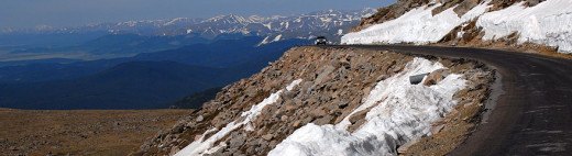 The 14,000 foot peak offers spectacular views of the Rocky Mountain terrain in the Denver hinterland.