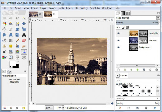 Fig. 1 How to turn a colour image into split tone in GIMP 2.8