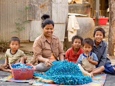 Carpets for Communities is a not-for-profit organization working in Cambodia, empowering women to produce carpets, earn additional income, and hence allowing their children to go to school.