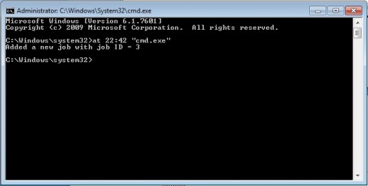 example: the at command executing cmd.exe at 10:42pm.