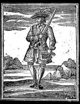 "This woodcut of Calico Jack Rackham is from ""A General History of the Robberies and Murders of the Most Notorious Pyrates,"" published in 1725."