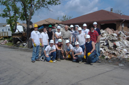 Helping out in New Orleans with the fraternity (Pi Kappa Alpha) after hurricane Katrina, in 2006.