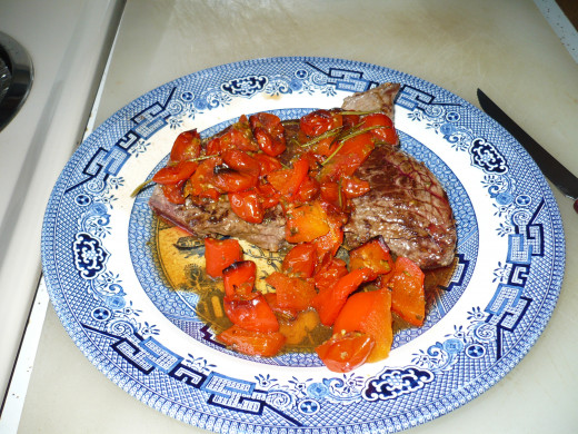 Fried Steak with roasted Grape tomatoes and Roasted Red Peppers