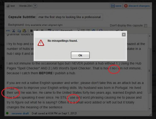 HubPages spell checker.
