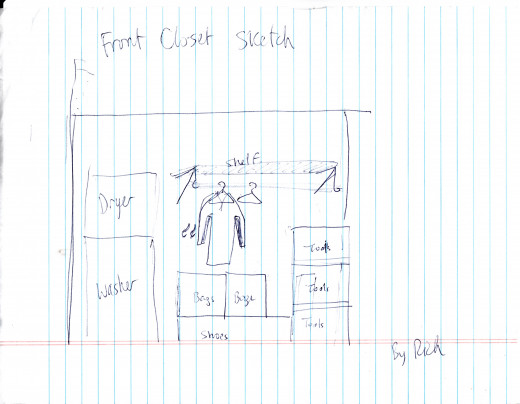 My friend Rich is a carpenter, and this is his design for a wooden closet organizer that I intend to have him build in my hall closet.
