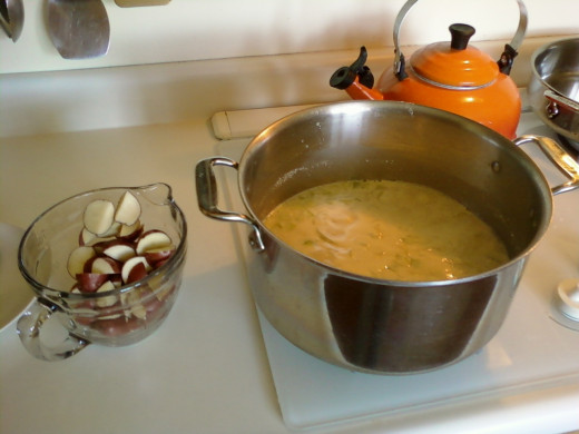 Bringing the soup to a boil before adding the potatoes.