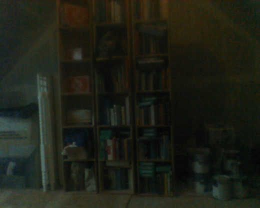 The middle section of our attic will become a quiet reference library.