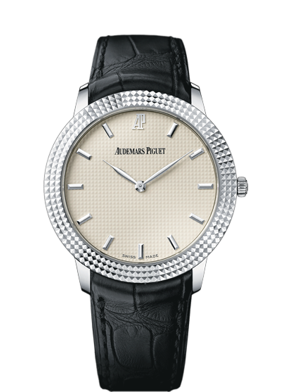 The hobnail motif on the dial is somewhat reminiscent of the Royal Oak's Grande Tapisserie, accentuating a nostalgia for a time long since passed.