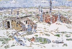 ww1: Painting of wrecked tanks in a wood. Actual title: Title Wrecked Tanks near Sanctuary Wood by David Brown Milne (1882–1953)