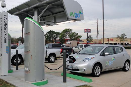 2011 Nissan Leaf at a charging station