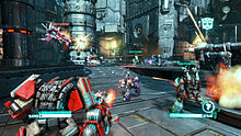Screen shot from a multiplayer game in Transformers: Fall of Cybertron