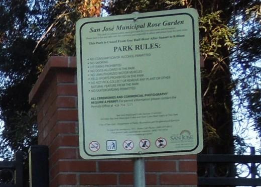 Rules at Municipal Rose Garden in San Jose CA