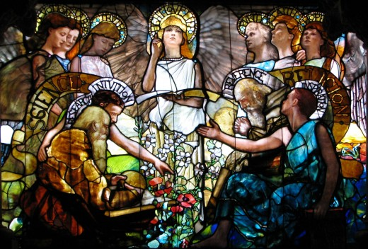 A stained glass window by Louis Comfort Tiffany and Tiffany Studios depicts Science (personified by Devotion, Labor, Truth, Research and Intuition) and Religion (personified by Purity, Faith, Hope, Reverence and Inspiration) in harmony.