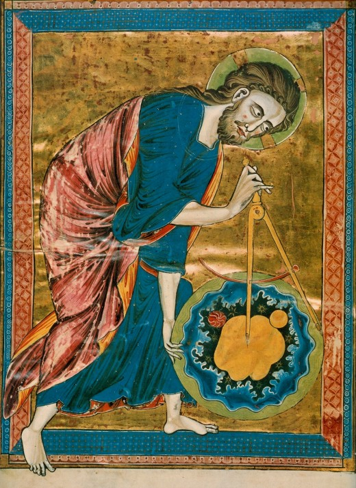 God the Geometer. The compass in this 13th century manuscript is a symbol of God's act of Creation. God has created the universe after geometric and harmonic principles, to seek these principles was therefore to seek and worship God.