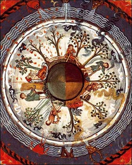 """Medieval depiction of a spherical earth with different seasons at the same time (from the book """"Liber Divinorum Operum"""")."""